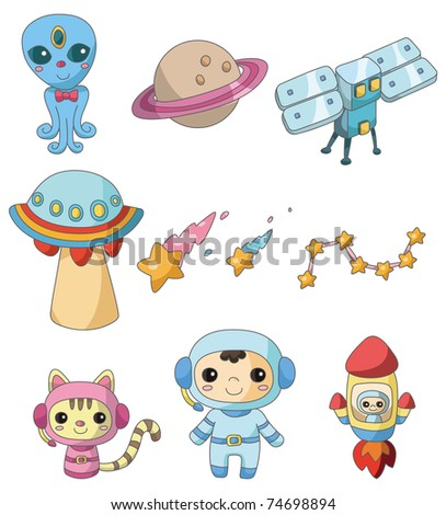 cartoon space element icon - stock vector