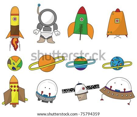 cartoon space icon - stock vector