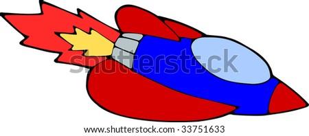 cartoon space rocket - stock vector