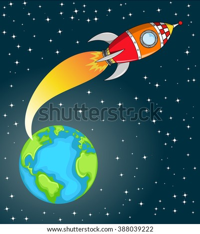 Cartoon space rocket flying in space out of the Earth - stock vector