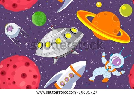 Cartoon space seamless background - stock vector