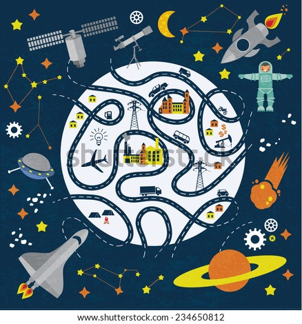 Cartoon space with map pattern - stock vector