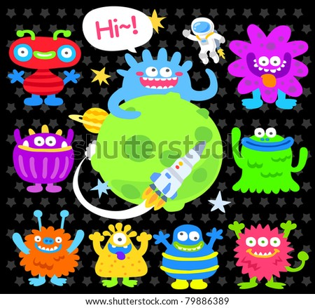 cartoon spaceship icon - stock vector