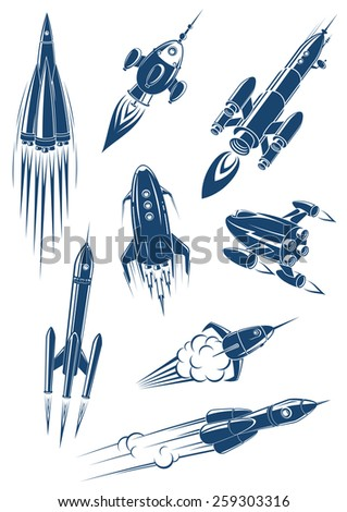 Cartoon spaceships and rockets in space isolated on white background - stock vector