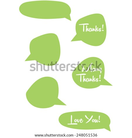 "Cartoon speech bubbles collection. A collection of cartoon style speech bubbles ""Thanks!"", ""many thanks!"" and ""love you!"" feature in three, another three are empty. These bubbles are green in color. - stock vector"