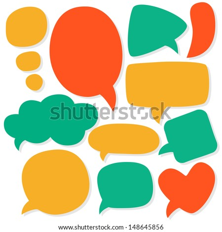 Cartoon speech bubbles. Different sizes and forms. Vector illustration. - stock vector