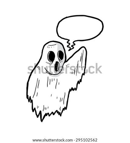 cartoon spooky ghost - stock vector