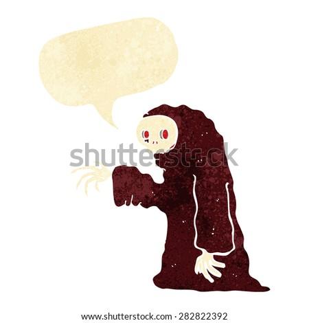 cartoon spooky halloween costume with speech bubble - stock vector