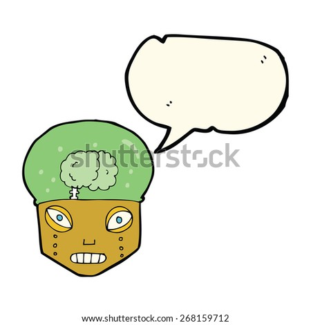 cartoon spooky robot head with speech bubble - stock vector