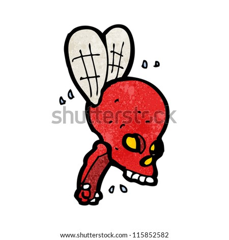 cartoon spooky skull fly