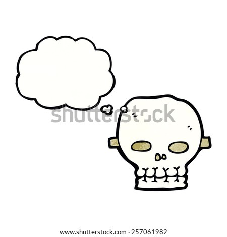 cartoon spooky skull mask with thought bubble