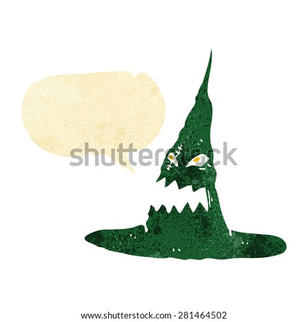 cartoon spooky witches hat with speech bubble - stock vector