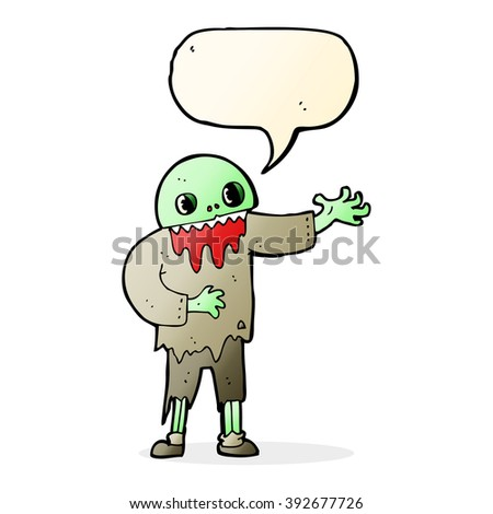 cartoon spooky zombie with speech bubble - stock vector