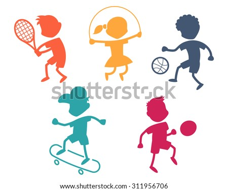 Cartoon sport icons - playing kids silhouettes - color - stock vector