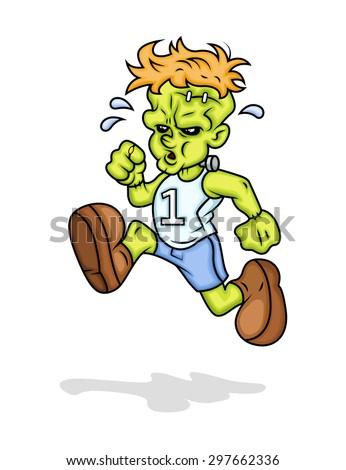 Cartoon Sportsman Character Running Vector Illustration - stock vector