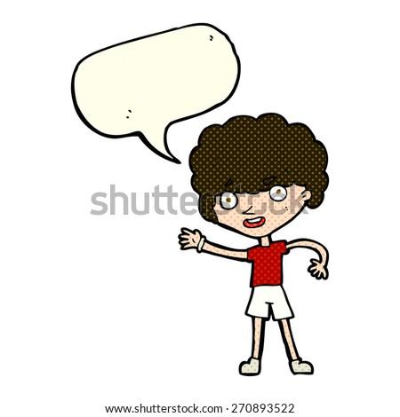 cartoon sporty person with speech bubble - stock vector