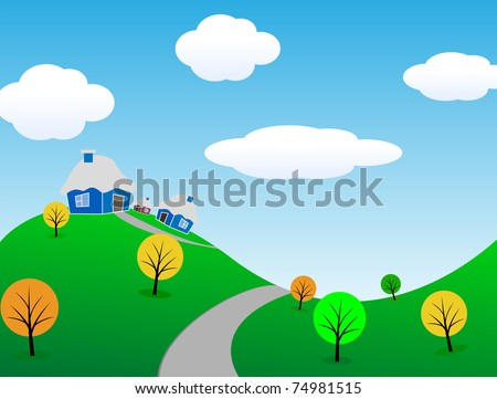 Cartoon spring landscape. Vector illustration