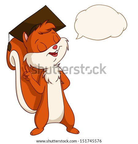 Cartoon squirrel in graduated hat with talk bubble. Vector illustration. - stock vector