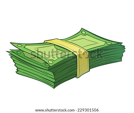 Cartoon stack of money isolated on white - stock vector