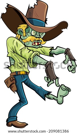 Cartoon stalking zombie with a big hat and mustache.Isolated on white - stock vector