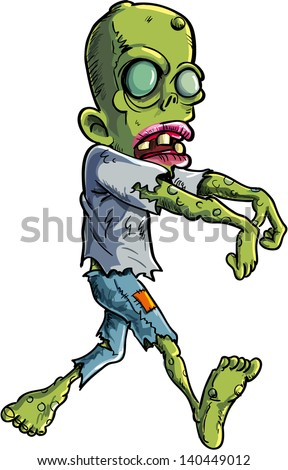 Cartoon stalking zombie writ ripped clothes. Isolated on white - stock vector