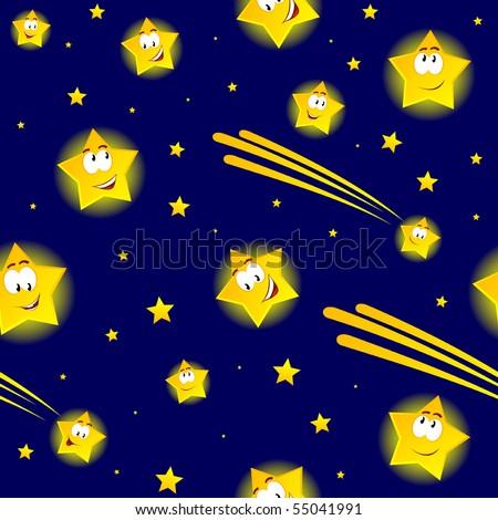 cartoon stars in night sky - stock vector