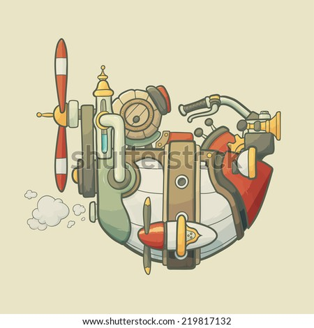 Cartoon steampunk styled flying airship with wheel, gears and propeller on light plain background - stock vector