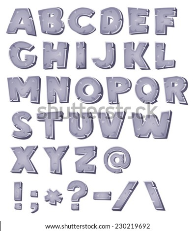 Cartoon Stone Alphabet/ Illustration of a set of comic ABC letters and font characters also containing punctuation symbols - stock vector