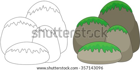 Cartoon stones covered with grass and moss. Coloring book for kids. Vector illustration - stock vector