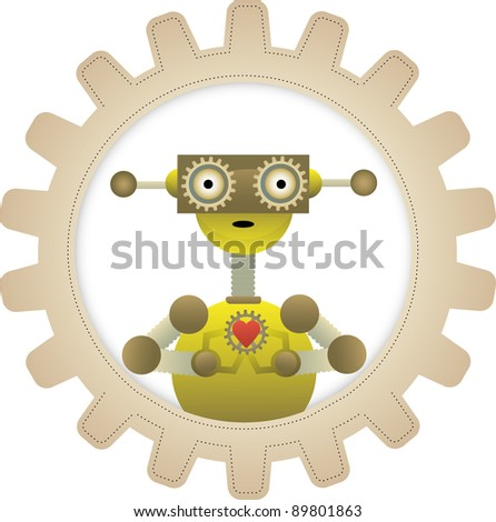 Cartoon Streampunk robot stands within gear holding gear with heart on it - stock vector