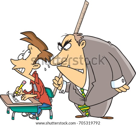 Cartoon student taking exam scared threatening stock photo photo cartoon student taking an exam scared of the threatening teacher standing behind him thecheapjerseys Image collections
