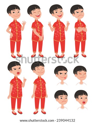 Cartoon style Asian boy wearing traditional Chinese festive costume. Set of original character different standing poses and facial expressions. Vector illustrations collection isolated on background - stock vector