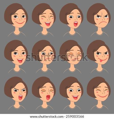 Cartoon Style Caucasian Girl's Faces. Vector Set of Different Emotions Icons. Isolated on background - stock vector