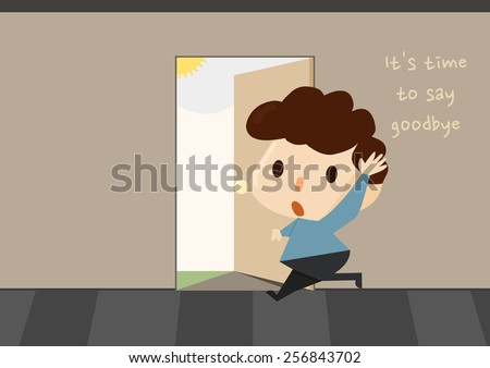 cartoon style character saying goodbye / a man quitting his job / a boy leaving his home - stock vector