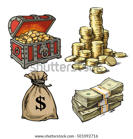 Cartoon style collection of money symbols: old chest with treasures, stack of gold  coins, sack of dollars, stack of dollar bills. Hand drawn sketch vector illustrations isolated on white background.