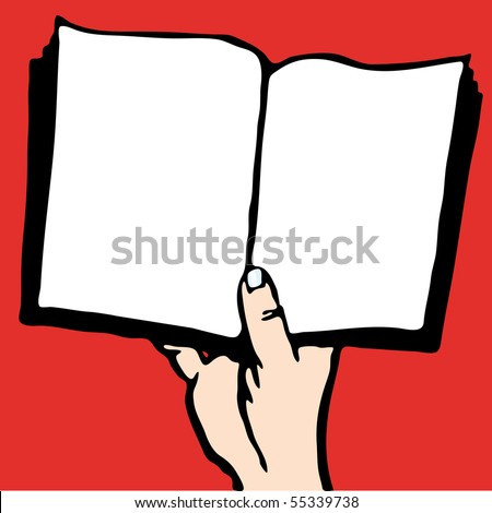 Cartoon style drawing of one person reading a book. - stock vector