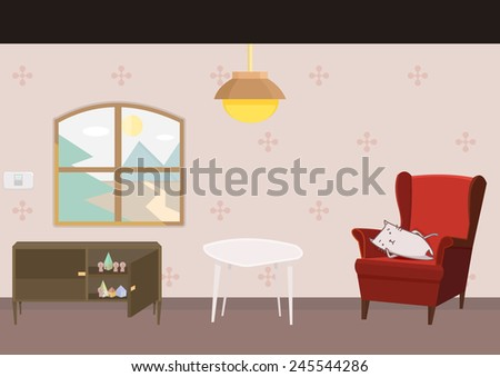 cartoon style furniture and a lazy cat - stock vector