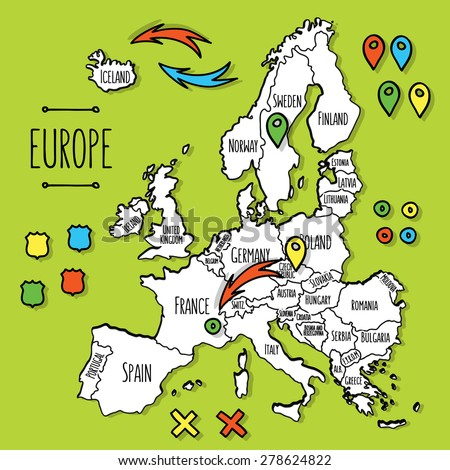 Cartoon Map Europe Stock Vector Shutterstock - Norway map cartoon