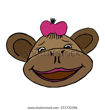 cartoon style head of monkey girl