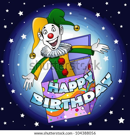 "Cartoon-style illustration: a funny jester jumping off a gift box Writing ""Happy birthday"" is easy to move or delete in vector format - stock vector"