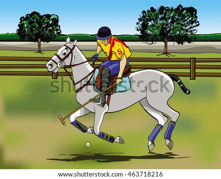 Cartoon style illustration: a player riding his horse in a Polo game