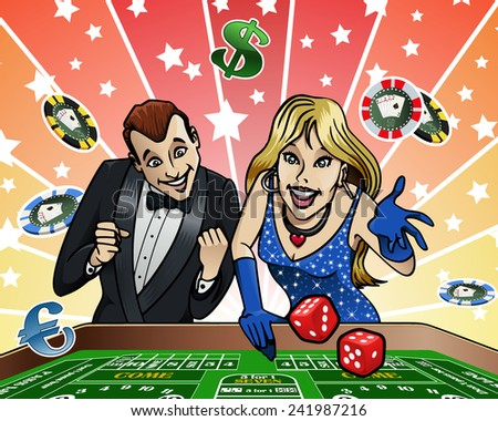 Cartoon-style illustration: a young couple playing dice at the Casino - stock vector