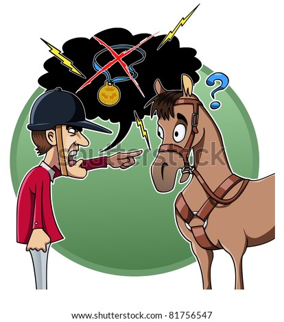 Cartoon-style illustration: an angry rider blames his horse for the defeat - stock vector