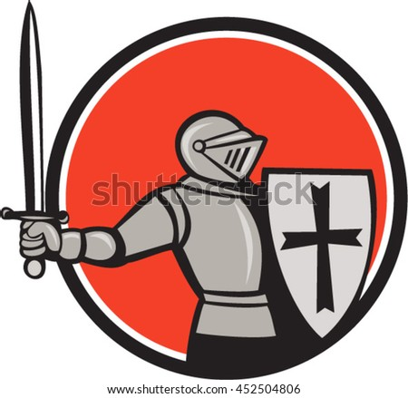 Cartoon style illustration of a knight wearing armor holding shield and wielding sword viewed from the side set inside circle on isolated background.