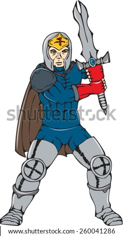 Cartoon style illustration of a knight with cape wielding a sword viewed from front on isolated background.
