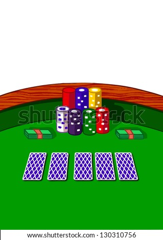 Cartoon style illustration of a poker table illustration,vector isolated on white background - stock vector