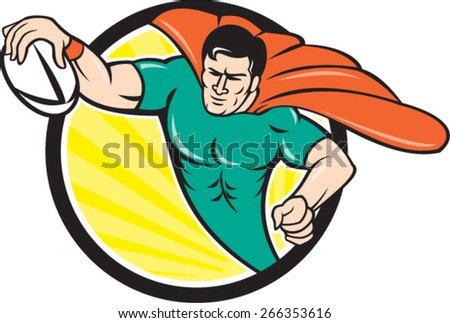 Cartoon style illustration of a superhero rugby player with ball scoring try set inside circle with sunburst in background.  - stock vector