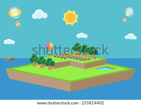 Cartoon style island vector, isometric
