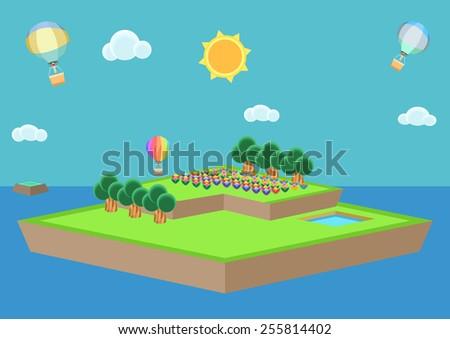 Cartoon style island vector, isometric - stock vector
