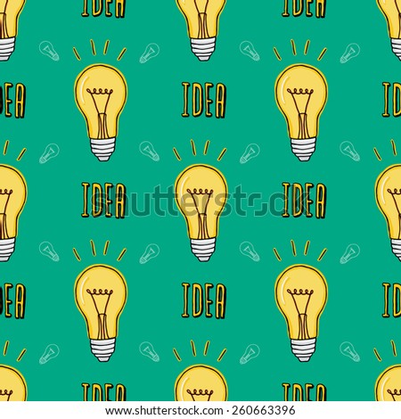 Cartoon style lightbulb seamless pattern with idea word and lightbulb background - stock vector